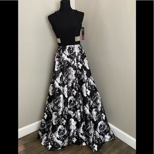 Black Floral Homecoming Prom Dress